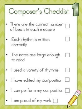Composer's Checklist- A guide for elementary music compositions