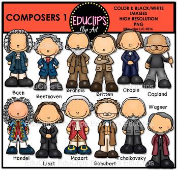 Composers 1 Clip Art Bundle  {Educlips Clipart}