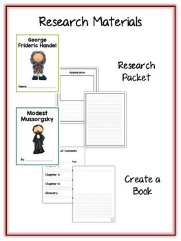 Composers Pack 2 Research Project - 12 Vocab Cards, Packet, Book + More