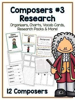 Composers Pack 3 Research Project - 12 Vocab Cards, Packet, Book + More