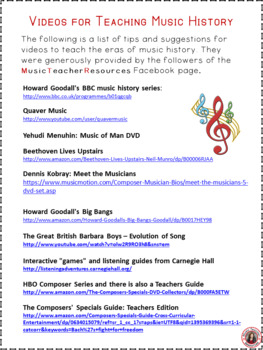 Composers and Music History Videos/DVD list