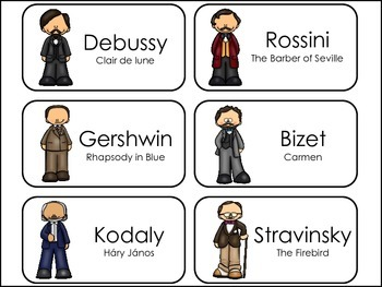 Composers and Their Most Popular Composition Picture Word Flash Cards.