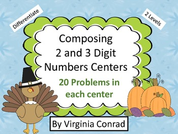 Composing 2 and 3 Digit Numbers Center---Thanksgiving Graphics