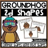 Composing 2D Shapes Task Cards Groundhog Theme