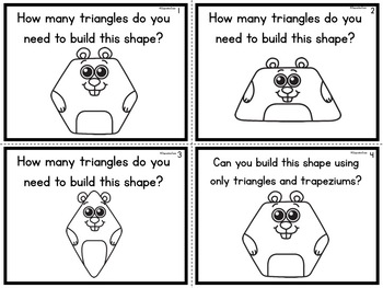 Composing 2D Shapes Task Cards Groundhog Theme