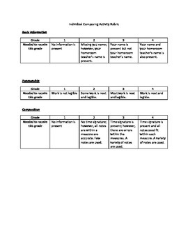 Composing Activity with Rubric