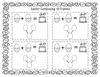 Easter Composing & Decomposing with 10 frames, Number Sentences & Number Bonds
