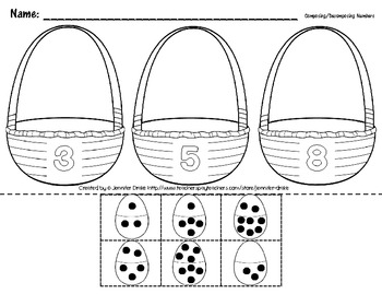 Composing & Decomposing Numbers 2-5; Easter Egg Version ~Center & Printable~