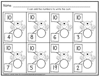 Composing & Decomposing Numbers 2 to 20 *Monster Theme* Center & Printables