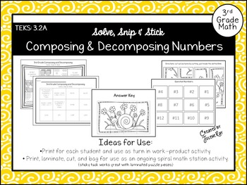 Composing & Decomposing Numbers: Solve, Snip & Stick: TEKS 3.2A