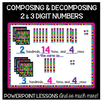 Composing Decomposing BIG Numbers PowerPoint Teaching Kit 2nd Grade