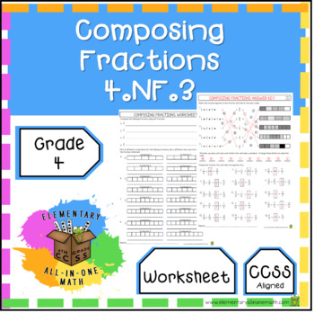 Composing Fractions Worksheet 4th Grade (4.NF.3)