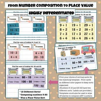 ADDITION & SUBTRACTION SORTS! Composing Numbers 5-20 Differentiated PLACE VALUE!