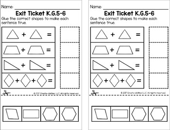 Composing Shapes Math Tasks and Exit Tickets