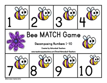 Composing and Decomposing Numbers 0-10 Bee Matching Game