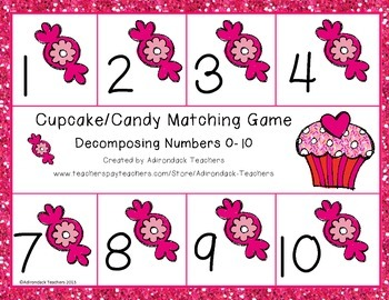 Composing and Decomposing Numbers 0-10 Cupcake Match Game