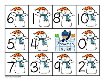 Composing and Decomposing Numbers 0-10 Snowman Match Game