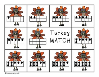 Composing and Decomposing Numbers 0-10 Turkey Matching Game