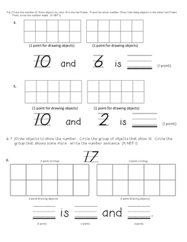 Composing and Decomposing Numbers 11-19 My Math Pretest