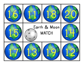 Composing and Decomposing Numbers 11-20 Earth and Moon Matching Game
