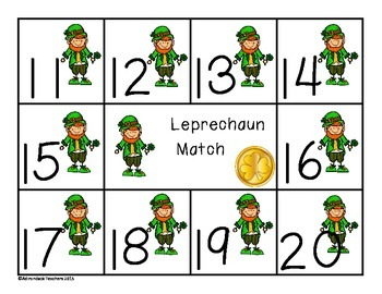 Composing and Decomposing Numbers 11-20 Leprechaun Matching Game