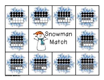 Composing and Decomposing Numbers 11-20 Snowman Matching Game