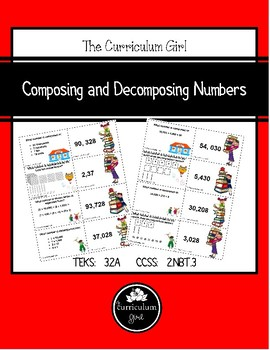 Composing and Decomposing Numbers Card Match (3.2A, 2.NBT.3)