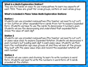 Composing and Decomposing Numbers Place Value Math Exploration Stations 3.2A