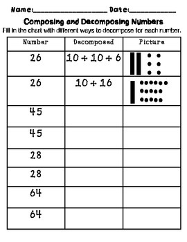 Composing and Decomposing Numbers Practice