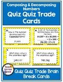 Composing and Decomposing Numbers Quiz Quiz Trade Brain Break Cards 3.2A