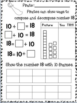 Composing and Decomposing Numbers to 20 w/ PIRATES~ Freebie in Download Preview