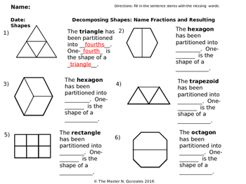 Composing and Decomposing shapes with equal parts using Fraction names