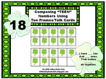 "Composing ""teen"" numbers using ten frames/talk cards"