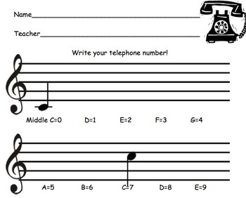 Composing with Telephone Numbers (Treble and/or Bass Clef!)