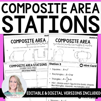Composite Area : Middle School Math Stations