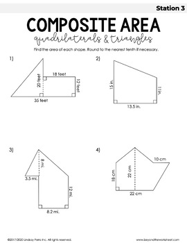 Area of Composite Figures Stations