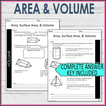 Composite Area, Surface Area, and Volume Guided Notes - Area and Volume Notes