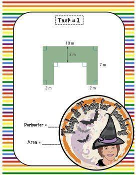 Composite Compound Figures Task Cards Perimeter Area Geometry Geometric Shapes