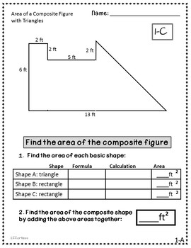 Composite Figure Bundle of Rectangles and Triangles: Find the Area