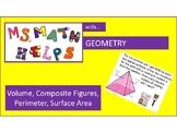 Composite Figures, Surface Area, Volume Pyramid/Prism, Circumference, Perimeter