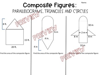 Area composite figures worksheet teaching resources teachers pay composite figures worksheet composite figures worksheet malvernweather Images