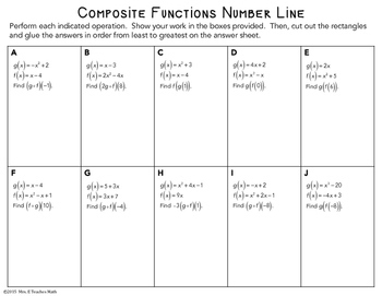 Composite Functions Cut and Paste Activity