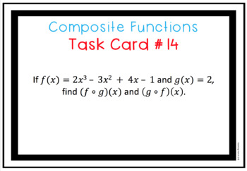 Composite Functions DIGITAL Task Cards use w Google Slides or PowerPoint