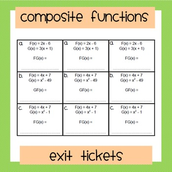 Composite Functions Exit Tickets