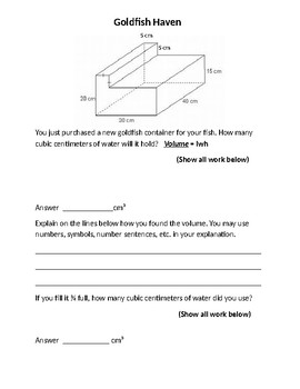 Composite Solids, Volume, Word Problems, Test Prep
