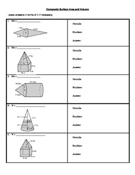 Composite Surface Area and Volume-Cones, Prisms, Cylinders, Spheres, Pyramids