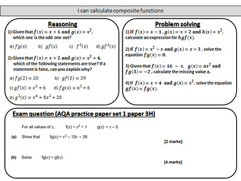 Composite functions - Complete lesson with mastery worksheet