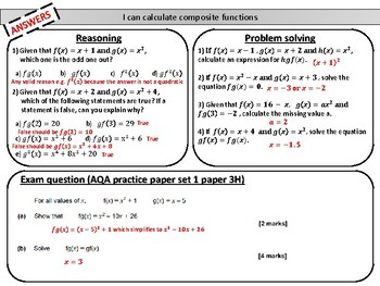 Composite functions- mastery worksheet
