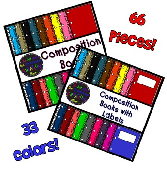 Composition Book CLIP ART BUNDLE - 66  Pieces!  33 Vibrant Colors!