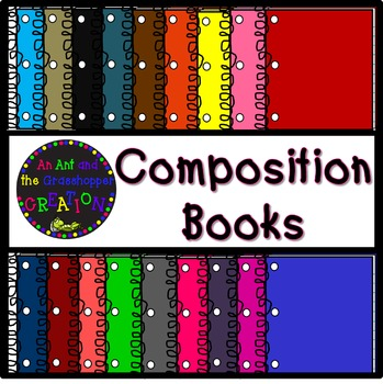 Composition Books Clip Art 33 pieces!